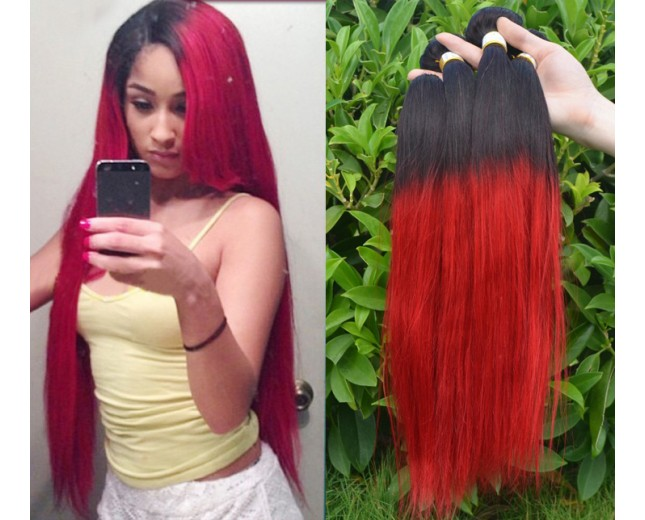 Brazilian Ombre Straight Remy Hair Two Tone Color 1B/Red BR0032