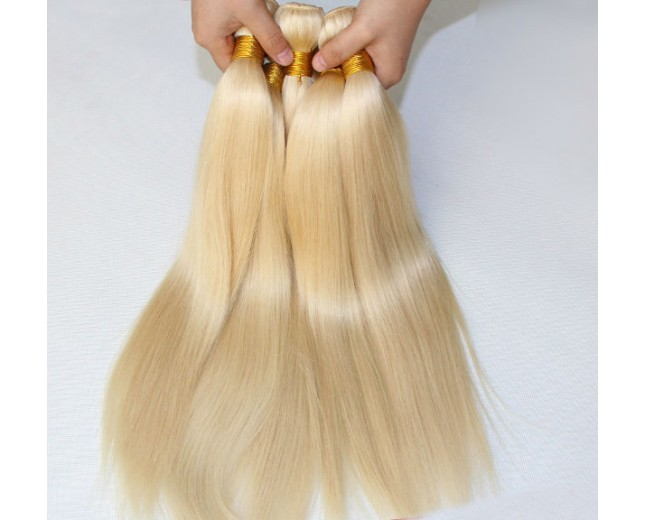 3pcs/lot Brazilian Virgin Remy Hair Straight Bundles Bleach Blonde 613# BD0054