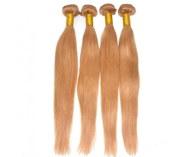 3pcs/lot Brazilian Straight Virgin Hair Bundles Color 27 Honey Blonde BD0053
