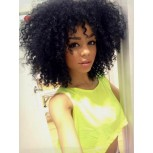 Short 12inch Afro Kinky Curly Brazilian Hair Glueless Full Lace Wigs FLW0033