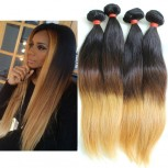 3pcs/lot Brazilian Straight Ombre Remy Hair Extensions Three Tone 1B/4/27# BR0065