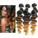 3pcs/lot Brazilian Loose Wave Ombre Remy Hair Extensions Three Tone 1B/4/27# BR0066