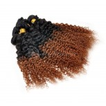 Kinky Curly Ombre Hair Brazilian Remy Hair Extensions #1B/30 BR008