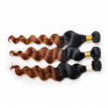 Loose Wave Ombre Remy Hair Extensions Two Tone Color 1B/30# BR009