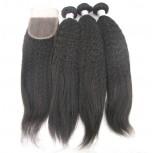 3 Bundles Kinky Straight Hair with 1pc Lace Closure Virgin Brazilian Hair BL008