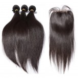 3 Bundles Straight Hair with 1pc Lace Closure Virgin Malaysian Hair ML001