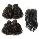 4 Bundles Kinky Curly Hair with 1pc Lace Closure Virgin Brazilian Hair BL0027