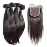 4 Bundles Straight Hair with 1pc Lace Closure Virgin Brazilian Hair BL0026
