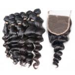 4 Bundles Loose Wave Hair with 1pc Lace Closure Virgin Brazilian Hair BL0028