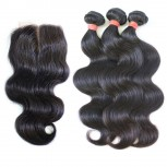 3 Bundles Hair with 1pc Lace Closure Virgin Mongolian Body Wave Hair GL002
