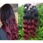 3pcs/lot Brazilian Ombre Burgundy Loose Wave Remy Hair Two Tone Color BR0048