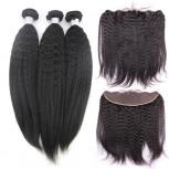 3 Bundles Kinky Straight Hair with 1pc 13''*4'' Lace Frontal Virgin Brazilian Hair BF009