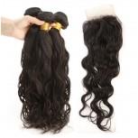 3 Bundles Hair with 1pc Lace Closure Water Wave Virgin Peruvian Hair PL0012
