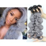 New Fashion Silver Grey Ombre Brazilian Body Wave Virgin Remy Hair BR0035