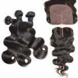 3 Bundles Brazilian Body Wave Virgin Hair with Silk Base Closure BS001