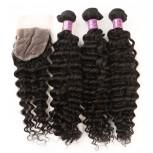 3 Bundles Deep Curly Hair with 1pc Lace Closure Virgin Malaysian Hair ML0010