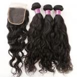 3 Bundles Water Wave Hair with 1pc Lace Closure Virgin Malaysian Hair ML0012