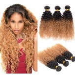 3pcs/lot Brazilian Ombre Kinky Curly Remy Hair Two Tone Color 1B/27# BR0040