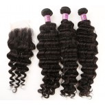 3 Bundles Deep Wave Hair with 1pc Lace Closure Virgin Malaysian Hair ML007