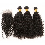 3 Bundles Curly Hair with 1pc Lace Closure Virgin Peruvian Hair PL001