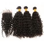 3 Bundles Curly Hair with 1pc Lace Closure Virgin Peruvian Hair PL001