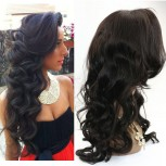 Loose Wave Glueless Full Lace Wigs with Bangs Brazilian Virgin Hair FLW009