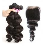 3 Bundles Loose Wave Hair with 1pc Lace Closure Virgin Malaysian Hair ML009