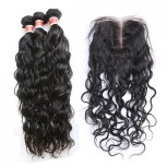 3 Bundles Natural Curly Hair with 1pc Lace Closure Virgin Peruvian Hair PL009