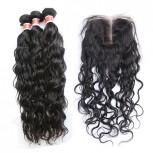 3 Bundles Natural Curly Hair with 1pc Lace Closure Virgin Peruvian Hair PL009