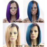 Fashion Ombre Straight Bob Cut Brazilian Remy Hair Full Lace Wigs FLW0049