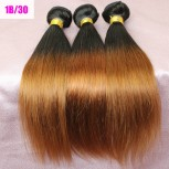 2pcs/lot Straight Brazilian Remy Hair Ombre Hair 1B/30# BR0019