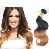 Body Wave Ombre Remy Hair Weave Two Tone Color 1B/27# BR004