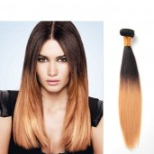 Brazilian Remy Hair Straight Ombre Hair Weave Two Tone Color 1B/27# BR0011