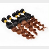 2pcs/lot Loose Wave Brazilian Remy Hair Ombre Hair 1B/30# BR0021