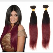2pcs/lot Straight Brazilian Remy Hair Ombre Burgundy Virgin Hair BR0017