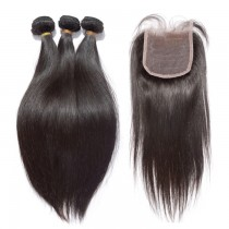 3 Bundles Straight Hair with 1pc Lace Closure Virgin Brazilian Hair BL003