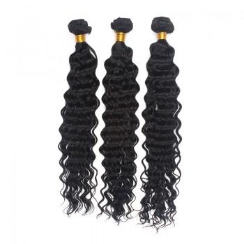 3pcs/lot Jet Black(#1) Deep Wave Curly Virgin Brazilian Hair Mixed Length BD0012
