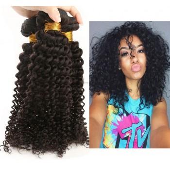 3 Bundles Kinky Curly Virgin Peruvian Hair Weave 8''-30'' PD006