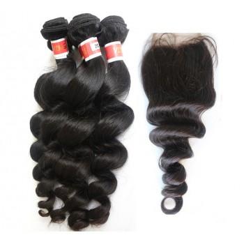 3 Bundles Loose Wave Hair with 1pc Lace Closure Virgin Peruvian Hair PL007
