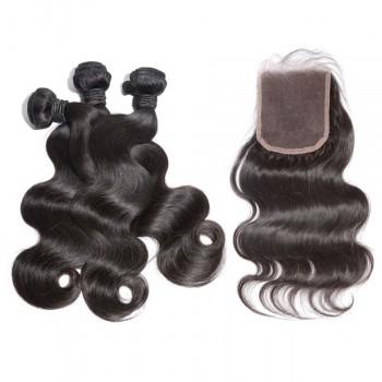 3 Bundles Hair with 1pc Lace Closure Body Wave Virgin Brazilian Hair BL001