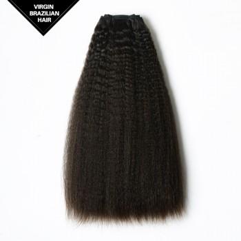 Double Drawn Kinky Straight Brazilian Virgin Hair Weave BRV008