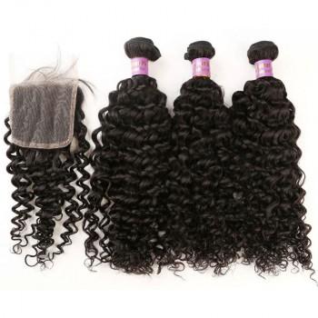 3 Bundles Curly Hair with 1pc Lace Closure Virgin Malaysian Hair ML006