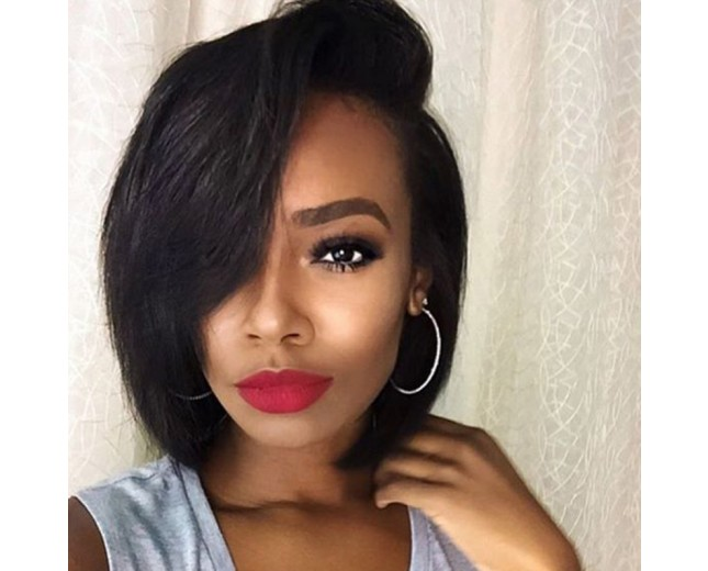 Brazilian Short Bob Straight Lace Front Wig with Bangs LFW0074