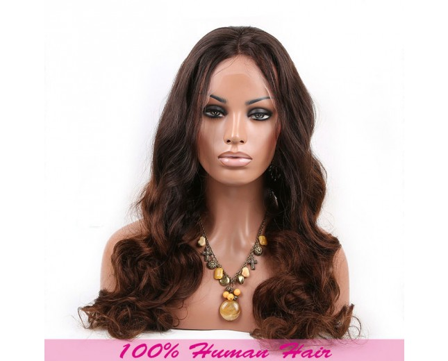 1B/4# Ombre Body Wave Full Lace Wigs Brazilian Virgin Hair FLW0038