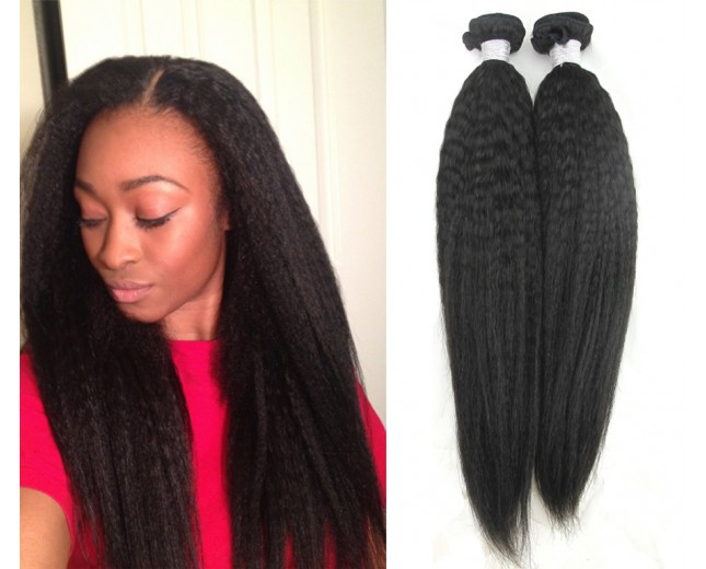 2pcs/lot Kinky Straight Brazilian Virgin Hair Bundles BD0026