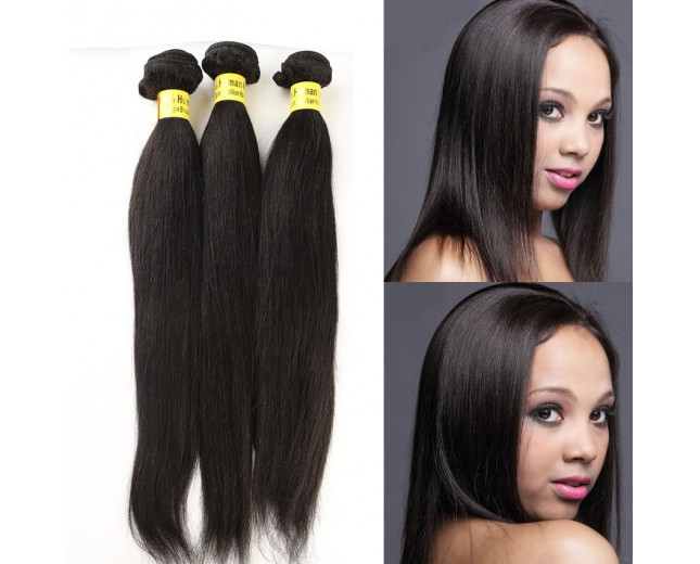 3pcs/lot Light Yaki Straight Virgin Brazilian Hair Mixed Length BD0014
