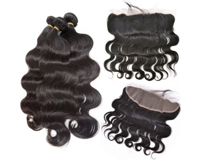 3 Bundles Peruvian Body Wave Virgin Hair with 1pc 13''*4'' Lace Frontal PF002