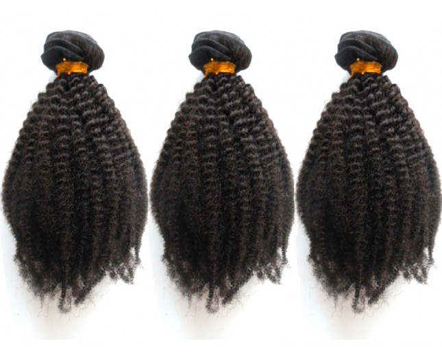 3pcs 16inch Afro Kinky Curly Virgin Brazilian Hair with Clips