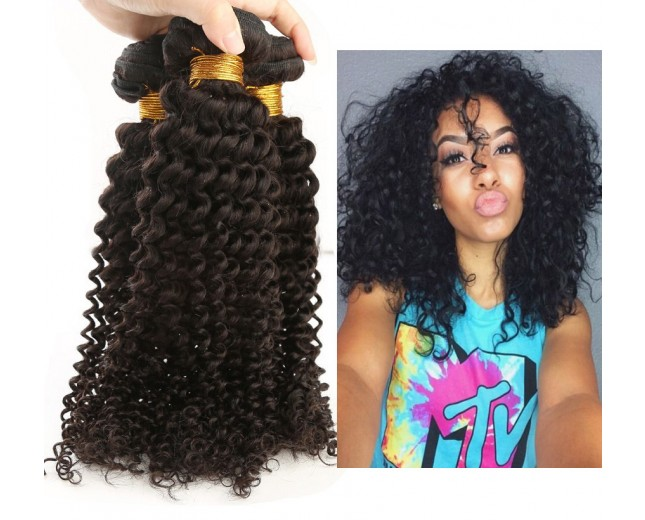 3 Bundles Kinky Curly Virgin Peruvian Hair Weave 8''-30'' PD006