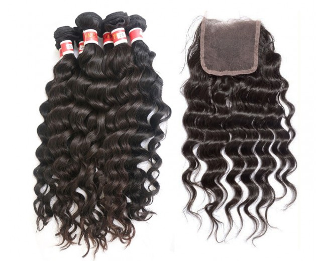 "Peruvian hair deep wave 4 bundles(12"", 16"", 20"", 24"" )with 4''*4'' 8inch closure"